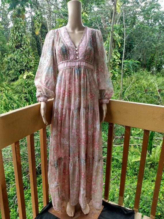 Vintage 1970s Prairie Maxi Dress Candi Jones Calif