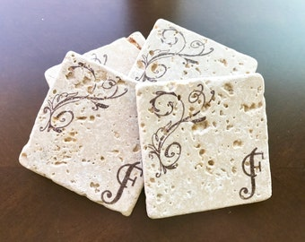 Monogram Coasters, Personalized Stone Coasters, Wedding Gift, Custom Stone Coasters, Bridal Shower Gift, Bridesmaid Gift, Stone Coasters