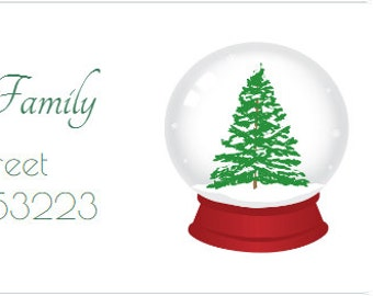 30 Christmas Labels, Holiday Address Labels, Snow globe Address Labels, Christmas Tree Address Labels, Christmas Return Address Labels