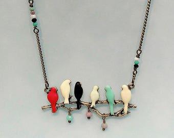 Enamel Birdie Necklace, Colorful Bird Necklace, Birds on a Branch Pendant