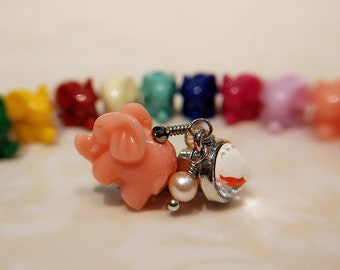 Lucky Elephant Dust Plug, Elephant Cell Phone Charm (10 colors to choose from)