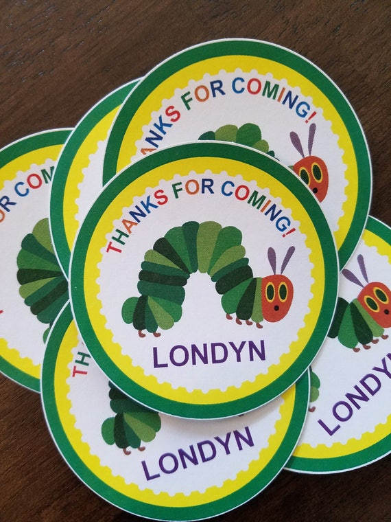 2fd6f246636f Personalized The Hungry Caterpillar Favor Bag Stickers The