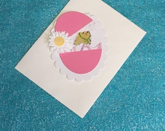 Easter chick Card in envelope in egg shaped