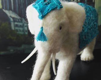 Abul Abbas, the white elephant. Needle felted soft sculpture, ooak.
