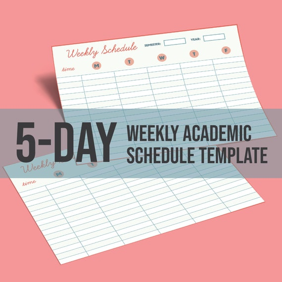 Weekly Academic Schedule Template Printable 5 Day Hourly Etsy