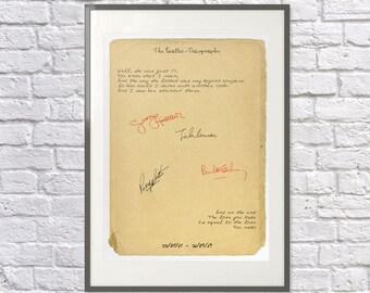 The Beatles Print - Opening & Closing Lines of the Albums - Beatles Gift - Beatles Fan - Beatles Art / Poster - John Lennon Lyrics