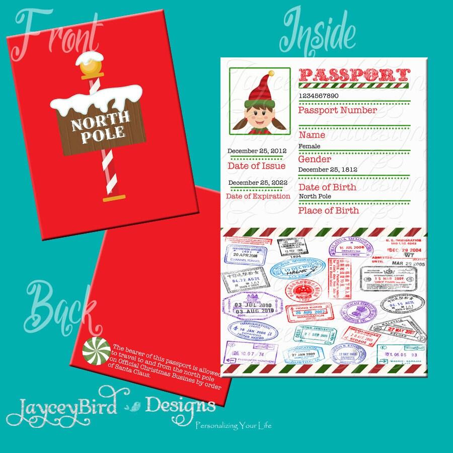Elf Passport Printable Christmas North Pole Boy Or Girl Etsy