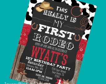 Cowboy Birthday Invitation Personalized My First Rodeo Boy Birthday Invitation 1st Birthday Party
