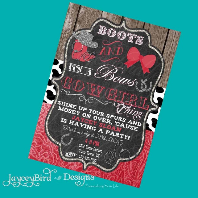 Boots And Bows Western Cowgirl Birthday Invitation Printable Invite Red Cow Print