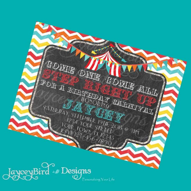Personalized Retro Vintage Circus Carnival Birthday Invitation Ticket For Boy Or Girl 5x7