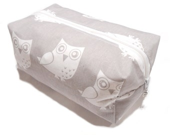 Owl Cosmetic Bag, Boxy Pencil Case, Make-Up Bag, Coin Purse, Pouch