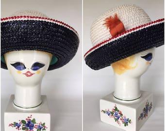 045e2f12445 1960s Yves Saint Laurent Straw Woven Hat - Red White Blue - Vintage