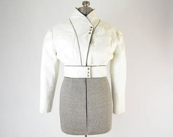 1980s White Leather Cropped Jacket with Black Leather Trim - True Vintage - Size Small