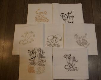 Mushroom Medley Dish Towels (Set of 7) - Made to Order