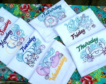 Beach Life Days of the Week Dish Towels (Set of 7) - Made to Order
