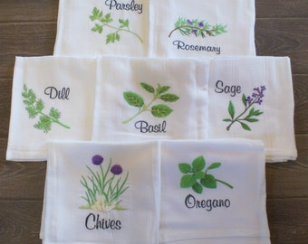 Kitchen Herbs 1 Dish  Towels (Set of 7) - Made to Order