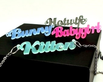 BDSM Custom Acrylic Cut Name Necklace, day collar, anklet, bracelet hotwife kitten bunny babygirl submissive jewelry ddlg bbc