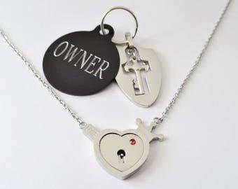 BDSM locking day collar, necklace, choker, anklet, slave submissive ddlg sub kitten heart padlock key discreet
