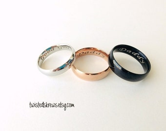 a486eece6a54 CUSTOM ENGRAVED rings couples single Stainless Steel Black Silver or Rose  Gold bdsm daddy sub little master mistress owner owned baby girl