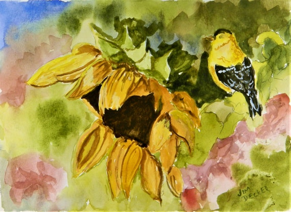 SUNFLOWER Flowers , Birds, Summer Painting Jim Decker