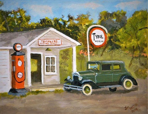 OLD GAS PUMPS , Old Cars , Booth-bay ,Maine , Old Gas Stations, Original , 11 x 14 Jim Decker Free Shipping