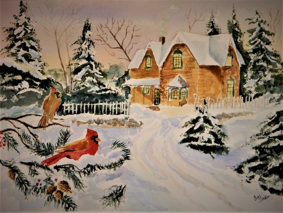 WINTER LANDSCAPE  Red Cardinals Original Watercolor By Jim Decker 16 x 20  Free Shipping