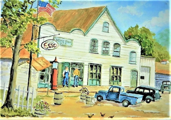 U.S.A. HOME TOWN Americana, original watercolor 16 x 20 by Jim Decker Free Shipping