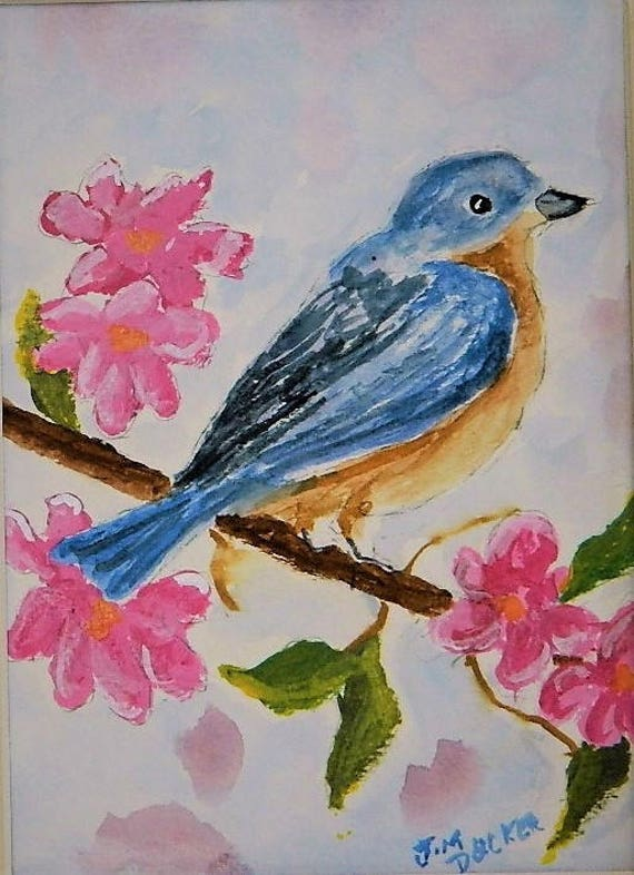 BLUE BIRD Wild Life Cherry Blousums Small Painting