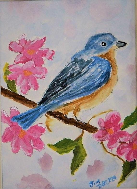 BLUE BIRD  original watercolor 8 x 10 by Jim Decker Free Shipping