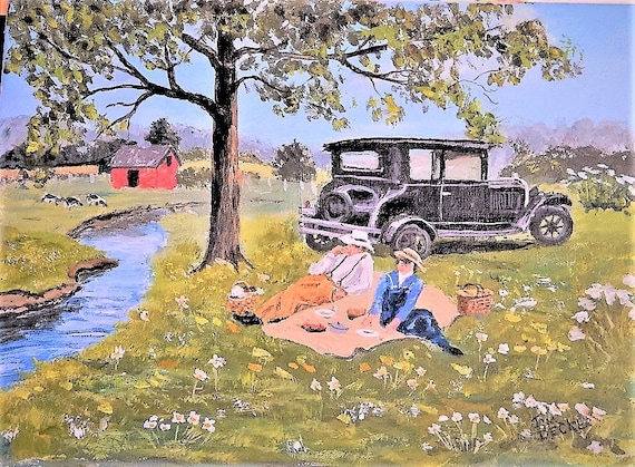 OLD CAR  Red Barn  Picnic, Farm, Original Painting 12 x 16 by Jim Decker FREE Shipping
