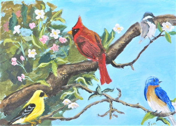 APPLE BLOSSOM TIME  Spring , Birds,  Red Cardinal Jim Decker
