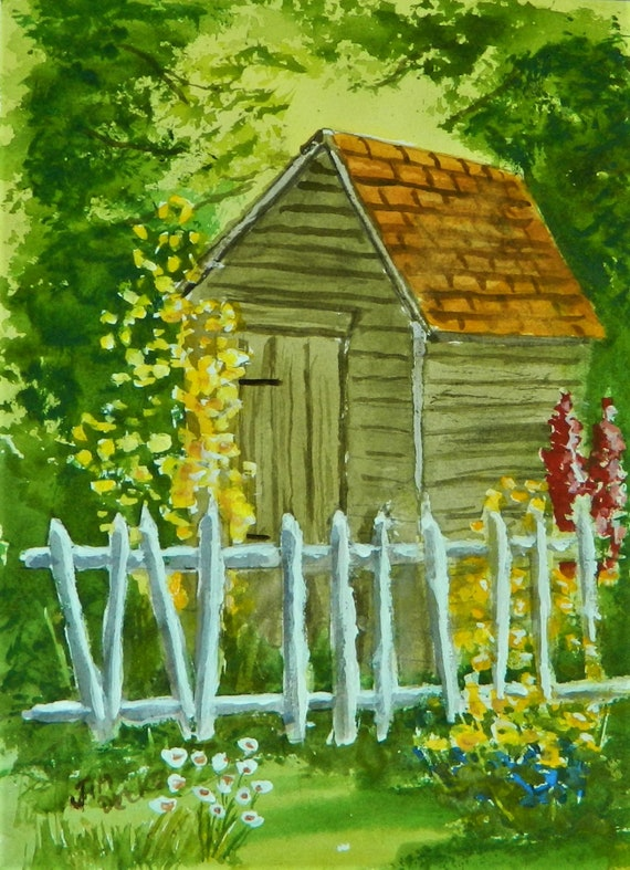 GARDEN  , Garden Shed Flowers , Original watercolor 11 x 14 by Jim Decker Free Shipping