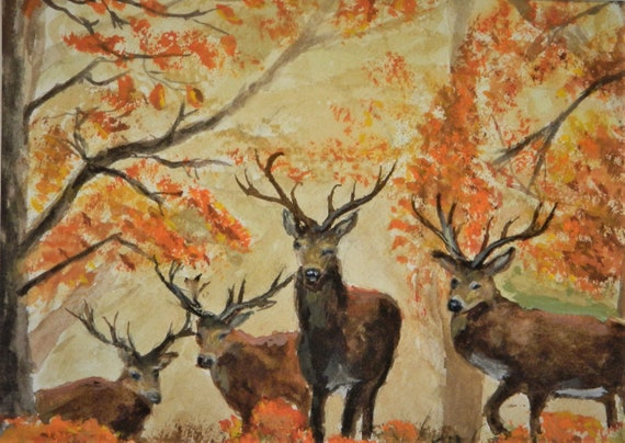 DEER PAINTING  { Four Bucks } Wildlife  Original Watercolor by Jim Decker