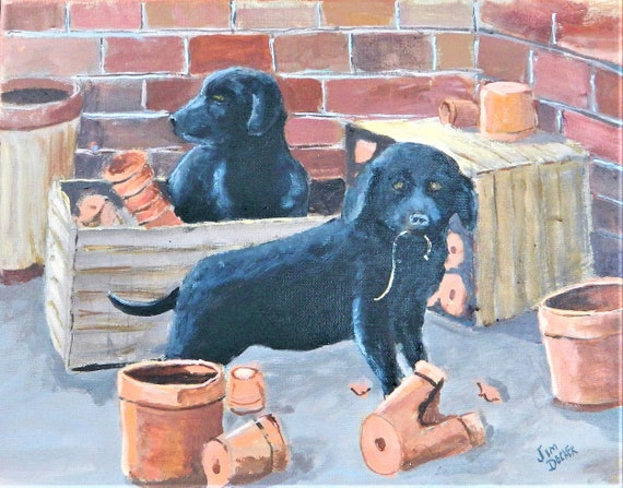 BLACK LAB  Pet Portait Custom Painting Jim Decker
