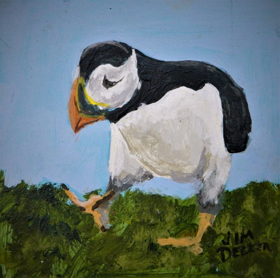 PUFFIN  Maine Sea Bird, Easel Painting, Small Painting,