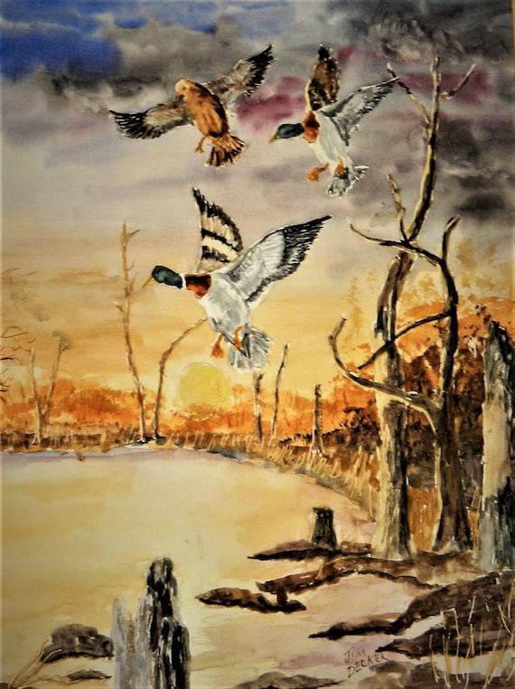 MALLARD DUCKS Mallard Morning Original Watercolor painting by Jim Decker 16 x 20 Free Shipping