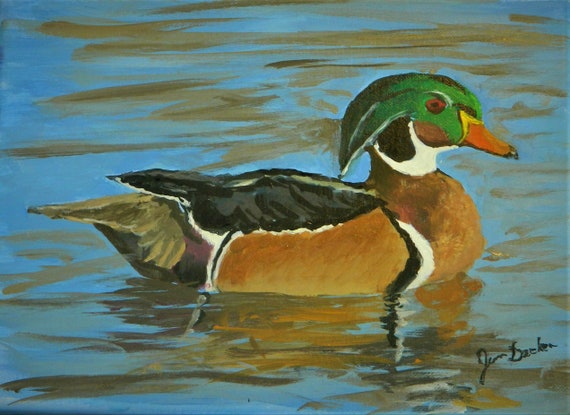 DUCK PAINTING  Wood Duck