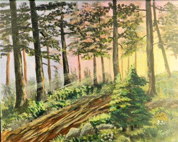 SUNLIGHT FOREST PAINTING Original Woodland Painting Maine Art Acrylic Landscape