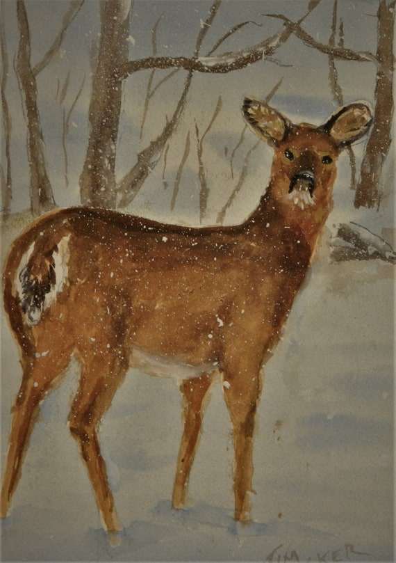 DEER IN SNOW,  Wildlife , Sportsman ,  Winter Landscape, Jim Decker,