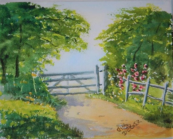 FARM PAINTING  Farm Gate original watercolor 8 x 10 by Jim Decker Free Shipping