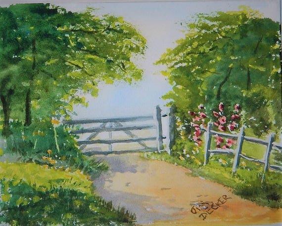 FARM PAINTING  Farm Gate original watercolor 8 x 10 by Jim Decker Free Shipping