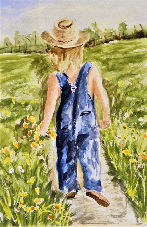 COUNTRY GIRL Painting Original Watercolor