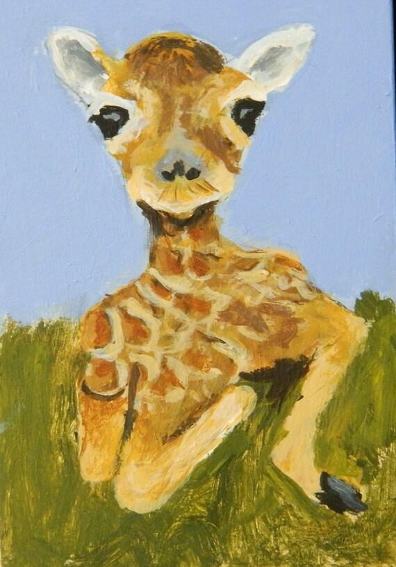 BABY GIRAFFE Small painting, Kids art, Baby animal painting, Original painting, 4 BY 6