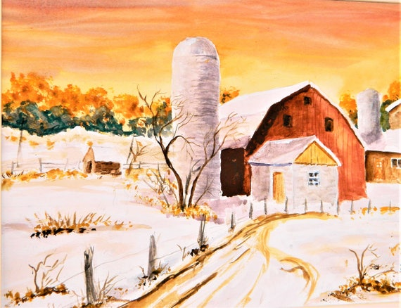 RED BARN In SNOW  Sun Rise Farm Landscape 16 x 20 Free Shipping