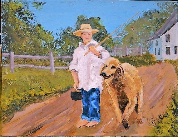 BOY And His DOG,  Golden Retriever ,Fishing, original painting 8 x 10 by Jim Decker Free Shipping