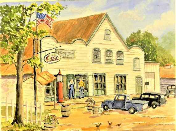 Home Town U. S. A.    ESSO Gas Back In Time Old Cars Jim Decker