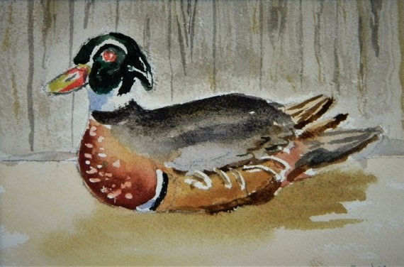 DUCK DECOY PAINTING  Wood  Duck  Watercolor