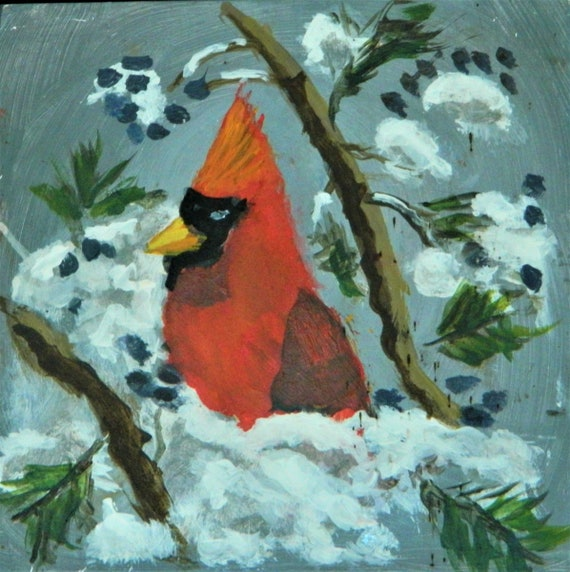 RED CARDINAL , Cardinals In Snow Winter Landscape  Jim Decker