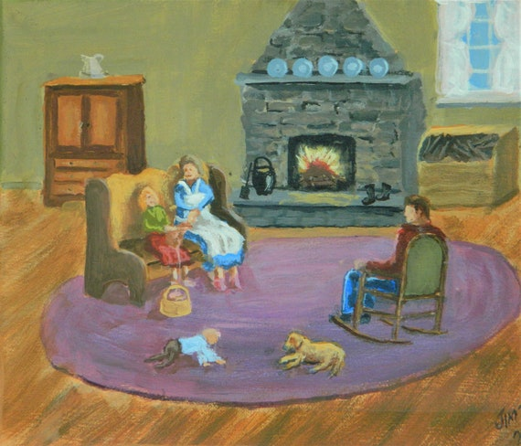 HOME SWEET HOME  Fireplace, Family , Country Home, Original painting by Jim Decker 11 x 14 Free Shipping