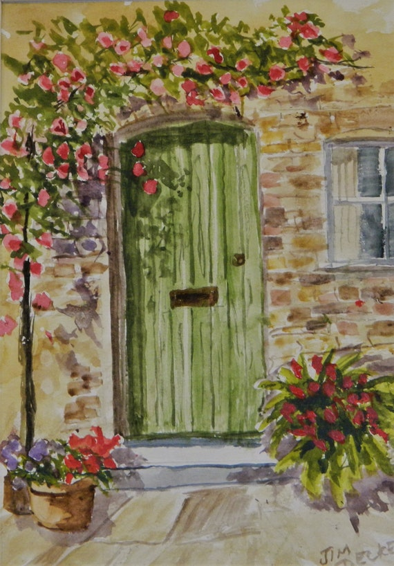 GREEN DOOR , Mediterranean Painting  ,Flowers   Jim Decker